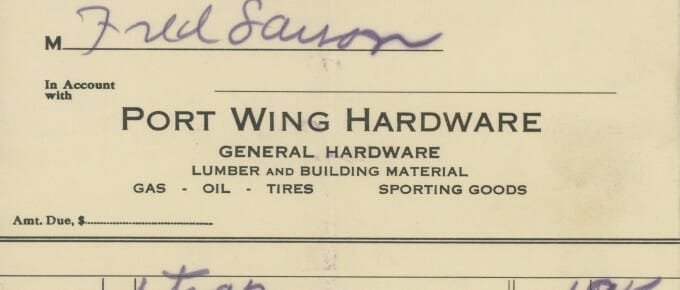 1935 Port Wing Hardware Receipt